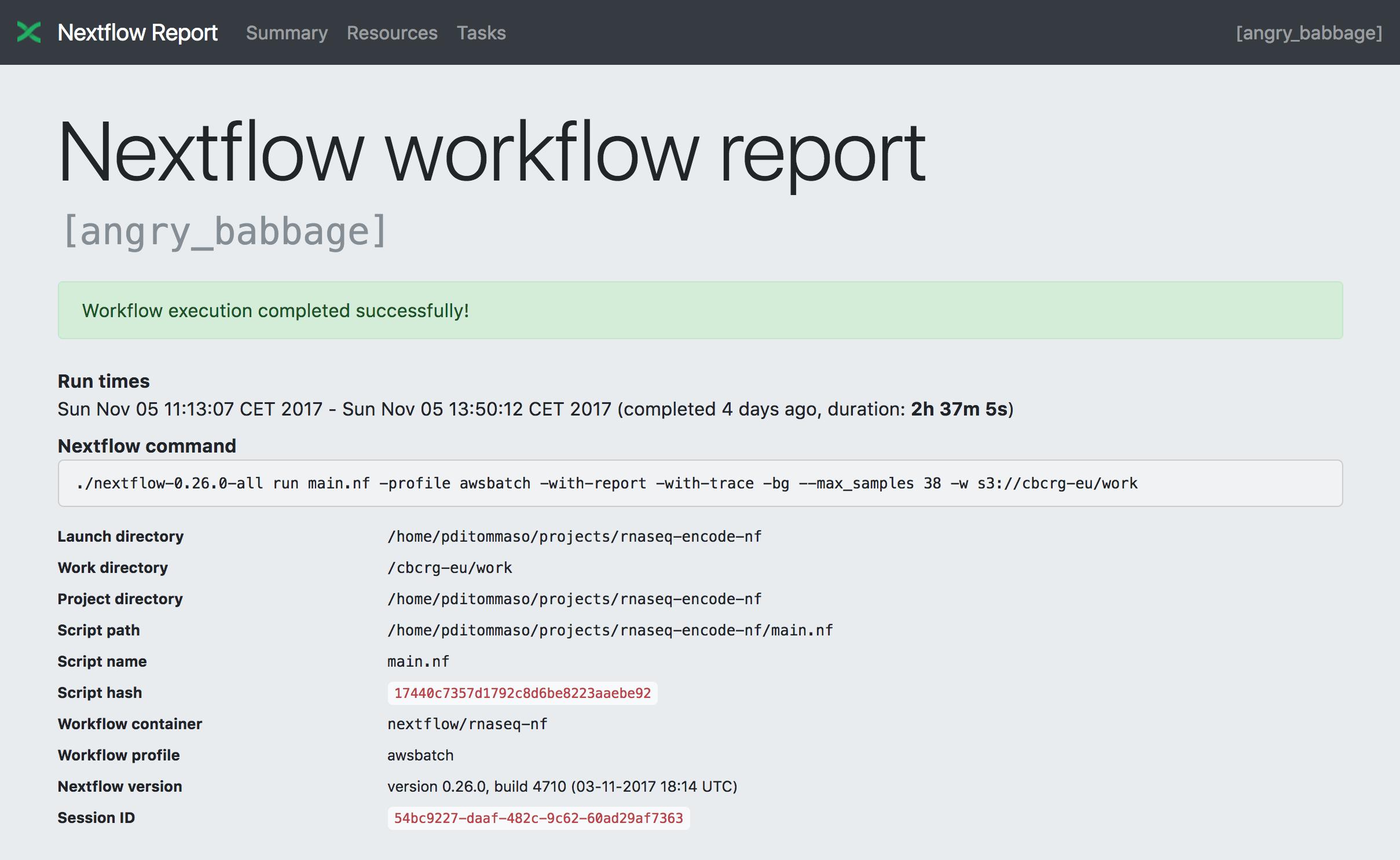 Tracing & visualisation — Nextflow 19 07 0 documentation